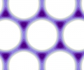 The 2-D lattice potential formed by superposition of three standing waves.