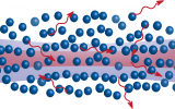 Blue spheres representing atoms cause light, represented by red squiggly lines to scatter. A laser beam is represented in the background.
